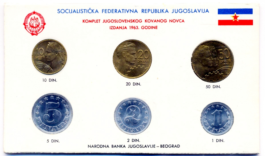2 and 1 dinar 1992 // Set of coins // Yugoslavia // 10 sets 50 10 5 50 coins