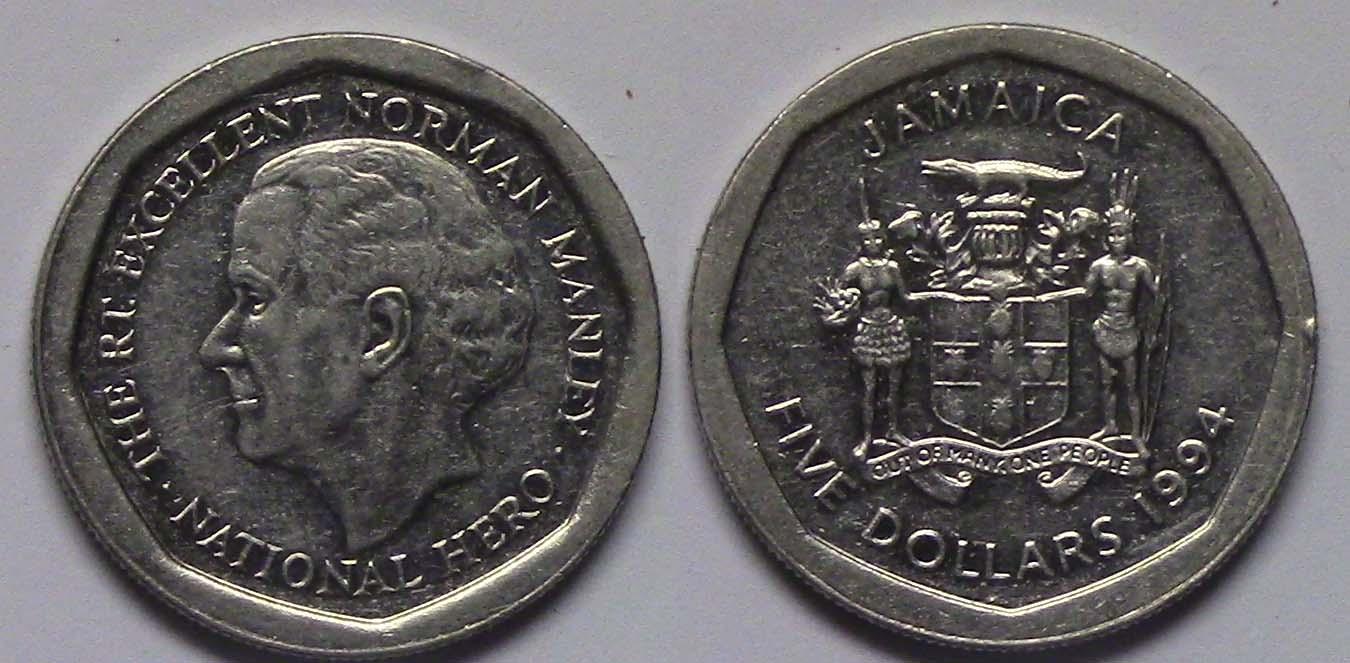 A72365 Jamaica 5 Dollars 1994 1