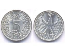 A50743 - NEMAČKA, Federal Republic. 5 DEUTSCHE MARK 1964-F 1