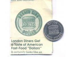 C68510 - Great Britain. Perfectly preserved BURGER KING DOLLAR 1